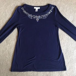WHBM Embellished Purple Long Sleeved Tee Shirt